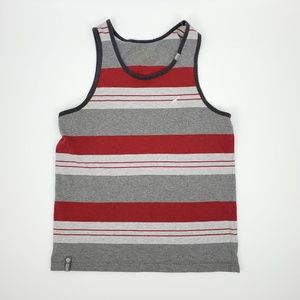 LRG Tank Top Men's Stripe, Red and Grey, Large